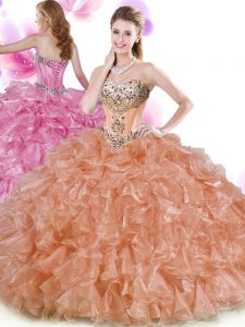 Elegant Floor Length Ball Gowns Sleeveless Rust Red and Peach Vestidos de Quinceanera Lace Up