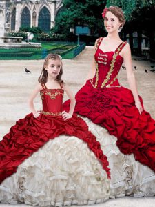 High Quality Straps Sleeveless With Train Beading and Ruffles and Pick Ups Lace Up 15th Birthday Dress with White And Red Brush Train