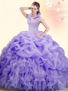 Pick Ups Ball Gowns Sleeveless Lavender Quince Ball Gowns Brush Train Backless