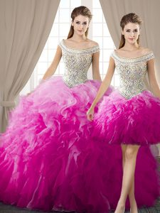 Three Piece Off The Shoulder Sleeveless Ball Gown Prom Dress Floor Length Beading and Ruffles Fuchsia Organza