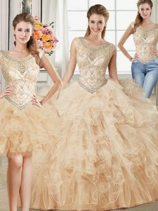 Stunning Three Piece Scoop Champagne Sleeveless Beading and Ruffles Floor Length Quince Ball Gowns
