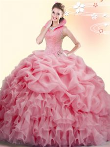 Pretty Beading and Ruffles and Pick Ups Sweet 16 Quinceanera Dress Watermelon Red Backless Sleeveless Brush Train