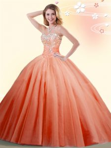 Floor Length Lace Up Vestidos de Quinceanera Orange Red for Military Ball and Sweet 16 and Quinceanera with Beading