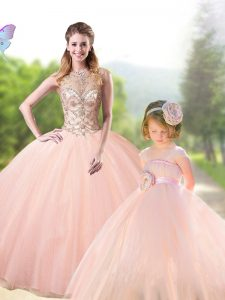 Peach Lace Up Scoop Beading Vestidos de Quinceanera Tulle Sleeveless