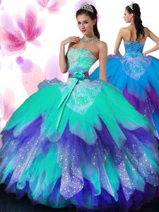 Floor Length Lace Up Sweet 16 Dress Multi-color for Military Ball and Sweet 16 and Quinceanera with Appliques and Ruffled Layers and Hand Made Flower