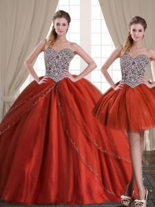 Inexpensive Three Piece Rust Red Sleeveless With Train Beading Lace Up Quinceanera Dress