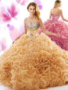 Flare Champagne Sleeveless Organza Court Train Lace Up Quinceanera Gown for Military Ball and Sweet 16 and Quinceanera