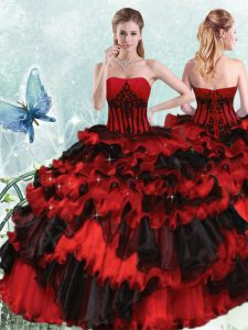 Red And Black Ball Gowns Strapless Sleeveless Organza Floor Length Lace Up Appliques and Ruffled Layers Quinceanera Dresses