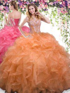 Stylish Orange Organza Lace Up Sweetheart Sleeveless Floor Length Quinceanera Gowns Beading and Ruffles