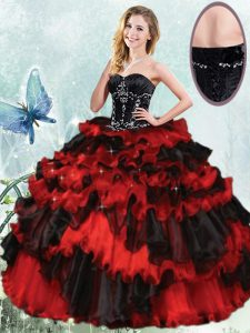 Red And Black Vestidos de Quinceanera Military Ball and Sweet 16 and Quinceanera with Beading and Ruffled Layers Sweetheart Sleeveless Lace Up
