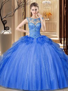 Tulle and Sequined Scoop Sleeveless Lace Up Ruffles Quince Ball Gowns in Blue