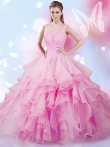 Flare Rose Pink Tulle Lace Up High-neck Sleeveless Floor Length Quince Ball Gowns Beading and Ruffles