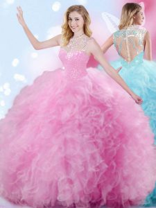 Pretty Rose Pink Sleeveless Floor Length Beading and Ruffles and Pick Ups Zipper Quinceanera Gowns