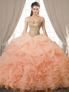 Popular Sleeveless Organza Floor Length Lace Up Sweet 16 Dresses in Peach with Beading and Ruffles and Pick Ups