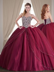 With Train Ball Gowns Sleeveless Burgundy Vestidos de Quinceanera Brush Train Lace Up