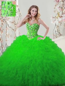 Sleeveless Lace Up Floor Length Embroidery and Ruffles Sweet 16 Dresses