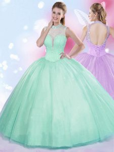 Floor Length Apple Green 15th Birthday Dress High-neck Sleeveless Lace Up
