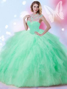 Customized Beading and Ruffles and Sequins Quinceanera Gown Apple Green Zipper Sleeveless Floor Length