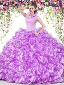 Free and Easy Organza High-neck Sleeveless Backless Beading and Ruffles 15th Birthday Dress in Lilac