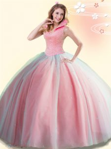 Sleeveless Floor Length Beading Backless Quinceanera Dress with Watermelon Red