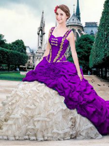 Pick Ups Brush Train Ball Gowns Teens Party Dress White And Purple Straps Organza and Taffeta Sleeveless With Train Lace Up