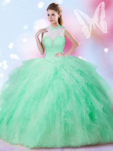 Apple Green High-neck Lace Up Beading and Ruffles 15 Quinceanera Dress Sleeveless