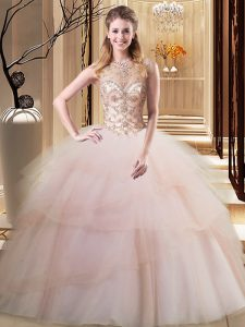 Admirable Scoop Peach Ball Gowns Beading and Ruffled Layers Quinceanera Gown Lace Up Tulle Sleeveless