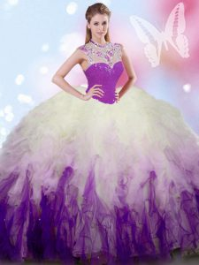 Unique White And Purple Quince Ball Gowns Military Ball and Sweet 16 and Quinceanera with Beading and Ruffles High-neck Sleeveless Zipper