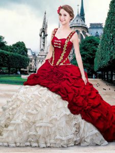 White And Red Lace Up Straps Beading and Ruffles and Pick Ups Sweet 16 Dress Organza and Taffeta Sleeveless Brush Train