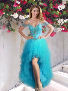 Luxury Off The Shoulder Sleeveless Tulle Cocktail Dresses Beading and Ruffles Lace Up