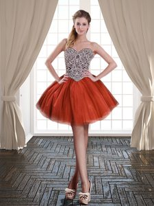 Mini Length Ball Gowns Sleeveless Rust Red Cocktail Dresses Lace Up