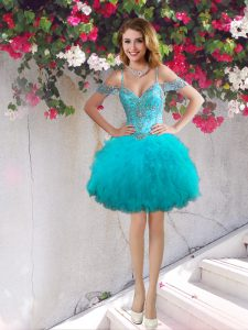 Exquisite Off the Shoulder Mini Length Lace Up Cocktail Dresses Teal for Prom and Party with Beading and Ruffles