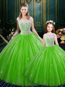 Romantic Sleeveless Tulle Floor Length Lace Up Quinceanera Gowns in with Lace