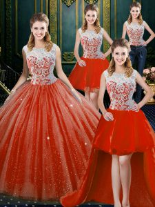 Four Piece High-neck Sleeveless Zipper Quince Ball Gowns Orange Red Tulle