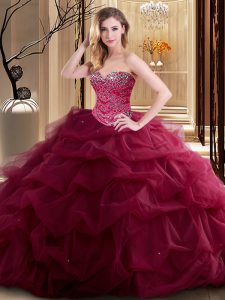 Beauteous Burgundy Lace Up Sweetheart Beading and Ruffles Sweet 16 Quinceanera Dress Tulle Sleeveless