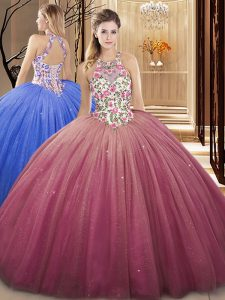 Unique Burgundy Lace Up High-neck Lace and Appliques Quinceanera Gown Tulle Sleeveless