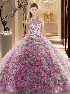 Chic Multi-color Criss Cross Quince Ball Gowns Ruffles and Pattern Sleeveless Brush Train