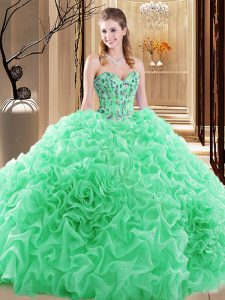 Simple Quince Ball Gowns Prom and Military Ball and Sweet 16 and Quinceanera with Embroidery and Ruffles and Pick Ups Sweetheart Sleeveless Lace Up