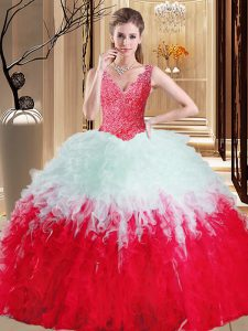 White And Red V-neck Neckline Lace and Appliques and Ruffles Sweet 16 Dresses Sleeveless Zipper