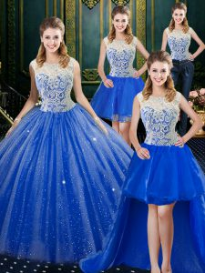 Latest Four Piece Royal Blue Sleeveless Brush Train Lace Floor Length Quinceanera Gowns