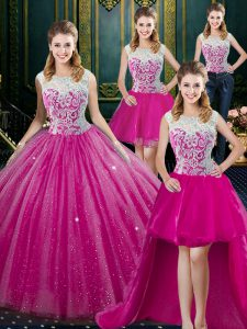 Four Piece Fuchsia High-neck Neckline Lace Quinceanera Dress Sleeveless Zipper
