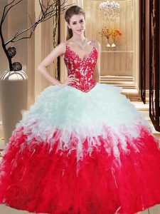 Sexy White And Red Ball Gowns Organza Straps Sleeveless Appliques and Ruffles Floor Length Lace Up Sweet 16 Dresses
