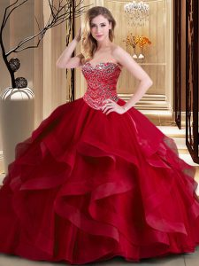 Exceptional Sleeveless Floor Length Beading and Ruffles Lace Up Vestidos de Quinceanera with Wine Red