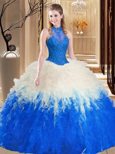Blue And White Ball Gowns Tulle High-neck Sleeveless Lace and Appliques and Ruffles Floor Length Backless 15th Birthday Dress