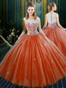 Delicate Floor Length Zipper Ball Gown Prom Dress Orange Red for Military Ball and Sweet 16 and Quinceanera with Lace