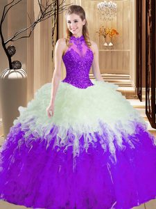 White And Purple Lace Up Vestidos de Quinceanera Lace and Appliques and Ruffles Sleeveless Floor Length