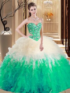 Sleeveless Lace Up Floor Length Embroidery and Ruffles 15th Birthday Dress