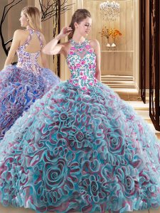 High End Multi-color Sleeveless Ruffles and Pattern Criss Cross Quinceanera Dresses