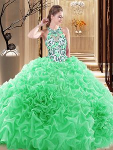 Ball Gowns Embroidery and Ruffles 15th Birthday Dress Backless Organza Sleeveless
