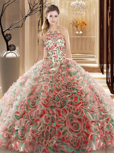 Multi-color Criss Cross High-neck Ruffles and Pattern Sweet 16 Dress Fabric With Rolling Flowers Sleeveless Brush Train